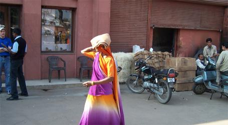 The Streets of Delhi - Rainbow woman