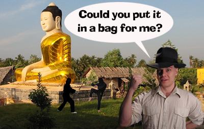 bronze statue of the Buddha located at a secret ninja camp